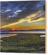 Sunset In Delaware Wood Print