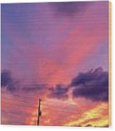 Sunset In Dunkirk Wood Print