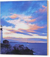Sunset In Fork Williams Lighthouse Park Portland Maine State Wood Print