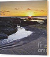 Sunset In Iceland Wood Print