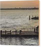Sunset In Manhattan Pier Wood Print