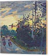 Sunset In Military Highway Norfolk Va Wood Print