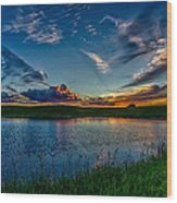 Sunset In Montana Wood Print