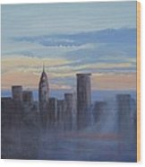 Sunset In New York Wood Print