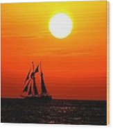 Sunset In Paradise Wood Print by Claudette Bujold-Poirier