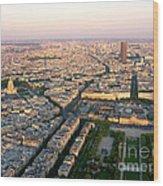 Sunset In Paris Wood Print
