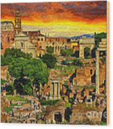 Sunset In Rome Wood Print by Stefano Senise