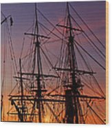 Sunset In San Diego Harbor Wood Print