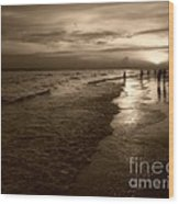 Sunset In Sepia Wood Print