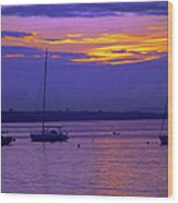 Sunset In Skerries Harbor Wood Print
