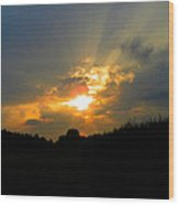 Sunset In The Cornfield 2 Wood Print