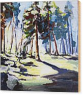Sunset In The Forest Wood Print