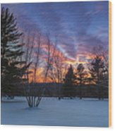 Sunset In The Park Square Wood Print