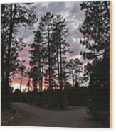 Sunset In The Pines Wood Print