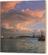 Sunset In The Port Wood Print