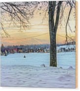 Sunset In The Snow Wood Print