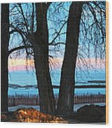 Sunset In The Trees Wood Print