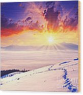 Sunset In The Winter Wood Print by Boon Mee