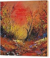 Sunset In The Wood Wood Print