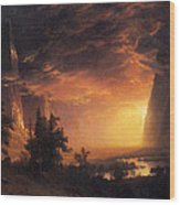 Sunset In The Yosemite Valley Wood Print
