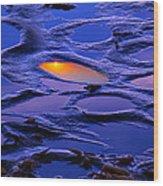 Sunset In Tide Pools Wood Print