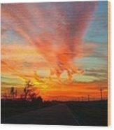 Sunset Iowa Wood Print by Kendra Sorum