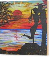 Sunset Kiss Wood Print