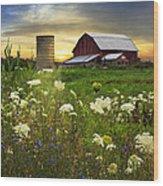 Sunset Lace Pastures Wood Print by Debra and Dave Vanderlaan