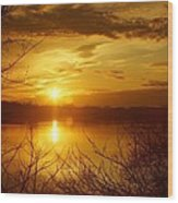 Sunset Lake Galena Wood Print