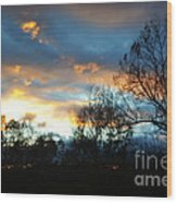 Sunset - Late Fall Wood Print