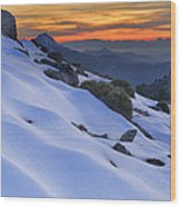 Sunset Light On The Snow Wood Print