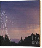 Sunset Lightning Wood Print