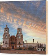 Sunset Majesty Mission San Xavier Del Bac Wood Print