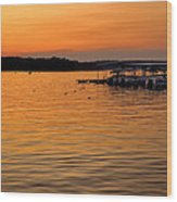 Sunset Marina Wood Print