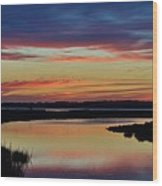 Sunset Marsh Wood Print