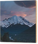 Sunset Mount Rainier Wood Print