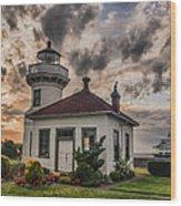 Sunset Mukilteo Lighthouse Wood Print