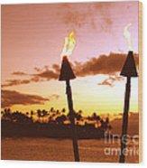 Sunset Napili Maui Hawaii Wood Print
