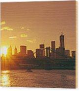 Sunset - New York City Wood Print