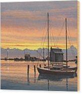 Sunset-north Dock At Pelee Island   Wood Print