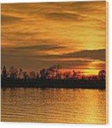 Sunset - Ohio River Wood Print by Sandy Keeton