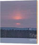 Sunset On A Cloudy Winter Day Wood Print