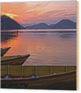 Sunset On A Mountainlake Wood Print