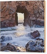 Sunset On Arch Rock In Pfeiffer Beach Big Sur California. Wood Print