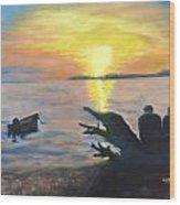 Sunset On Birch Bay Wood Print