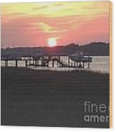 Sunset On Broad Creek II Wood Print