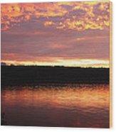 Sunset On Cayuga Lake Cornell Sailing Center Ithaca New York II Wood Print