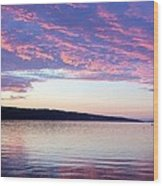 Sunset On Cayuga Lake Cornell Sailing Center Ithaca New York Wood Print
