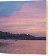 Sunset On Chickawaukee Lake Wood Print