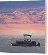 Sunset On Grand Beach Wood Print